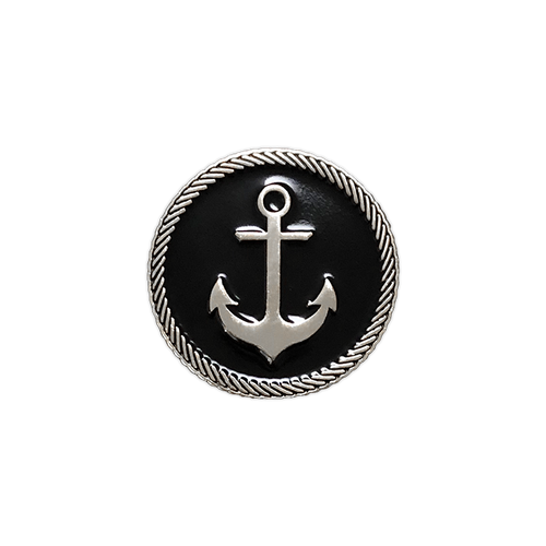 Anchor Badge Silver Enamel Pin