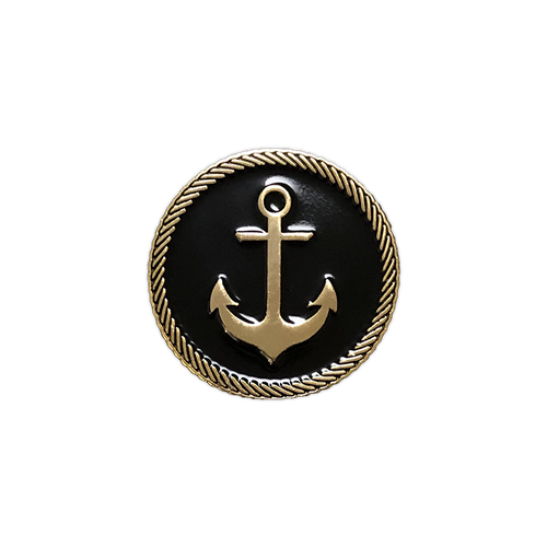 Anchor Badge Gold Enamel Pin