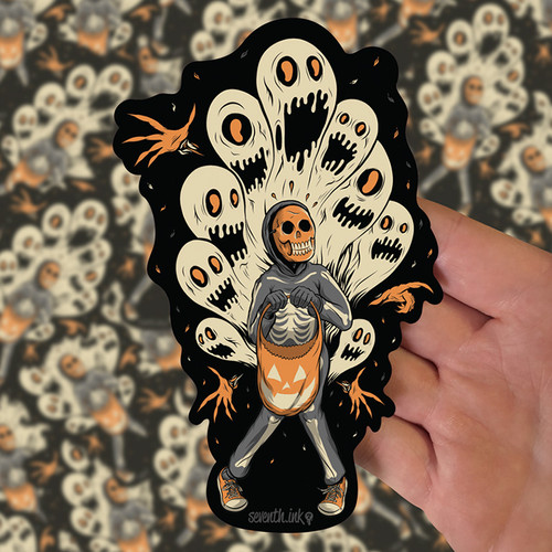 "Ghoulish Fright 6"" Die Cut Sticker by Seventh.Ink"