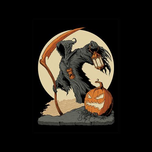 The Reaper Orange/Cream 9x12 Screen Print