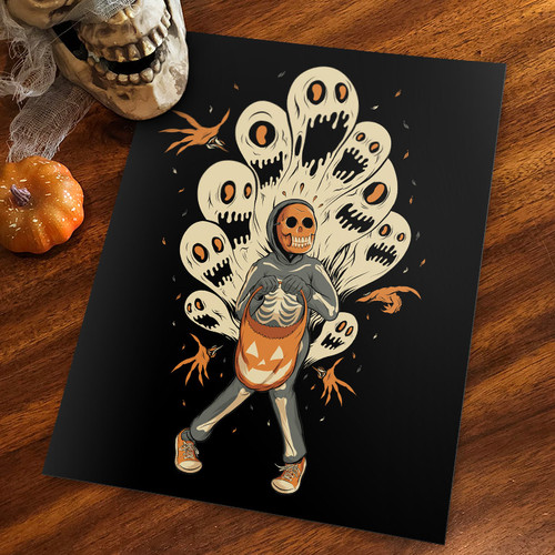 Ghoulish Fright 9x12 Screen Print