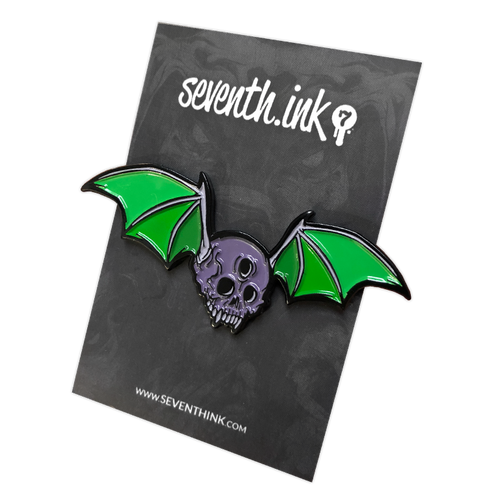 Skull Bat Enamel Pin by Seventh.Ink
