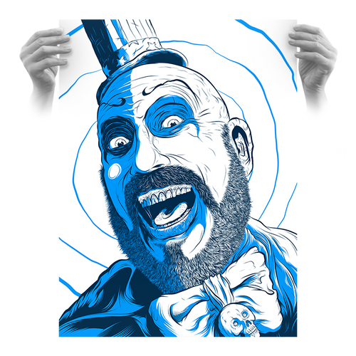 """Captain Spaulding Hypno Clown """"Blueberry"""" Fluorescent AP Screen Print (Very Limited)"""