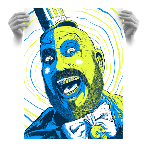 "Captain Spaulding Hypno Clown ""Glowbug"" Fluorescent AP Screen Print (Very Limited)"