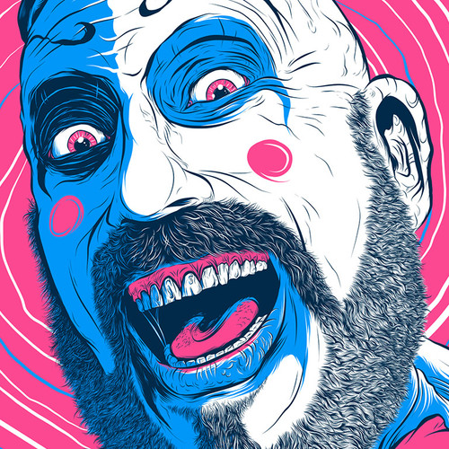 "Captain Spaulding Hypno Clown ""Bubblegum"" Fluorescent AP Screen Print (Very Limited)"