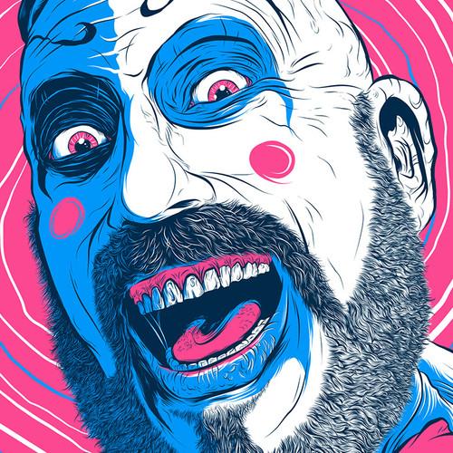"Captain Spaulding Hypno Clown ""Bubblegum"" Fluorescent AP Screen Print (Very Limited)"
