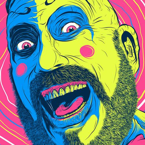 Captain Spaulding Hypno Clown  Fluorescent AP Screen Print (Very Limited)