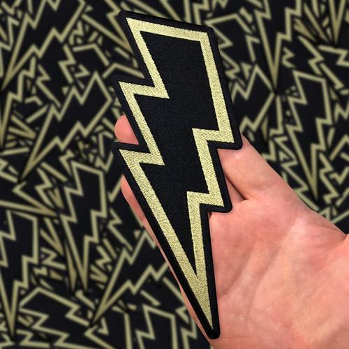 """Gold Lightning Bolt 8"""" Back Patch by Seventh.Ink"""