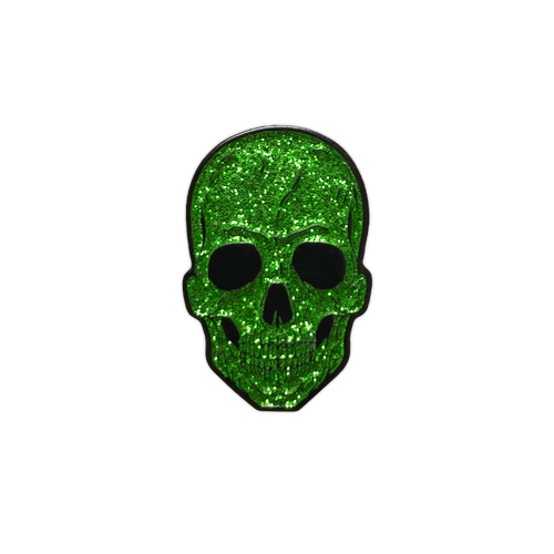 Green Glitter Skull Enamel Pin by Seventh.Ink