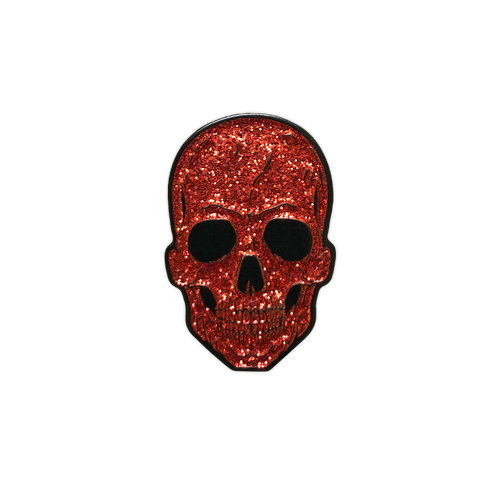 Red Glitter Skull Enamel Pin