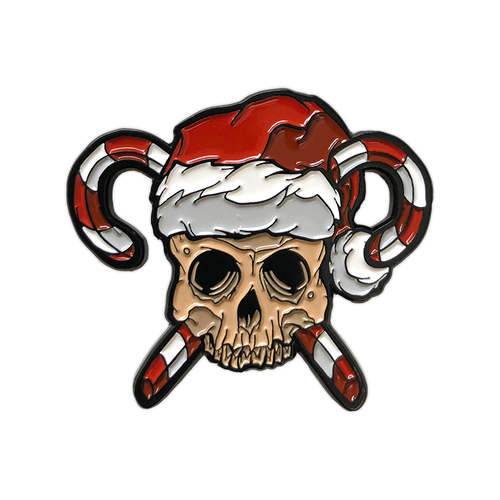 Skull and Crosscanes Enamel Pin by Seventh.Ink