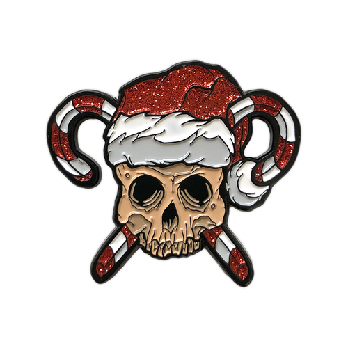 Skull and Crosscanes Glitter Enamel Pin by Seventh.Ink