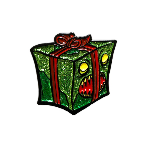 Evil Present Glitter Enamel Pin by Seventh.Ink
