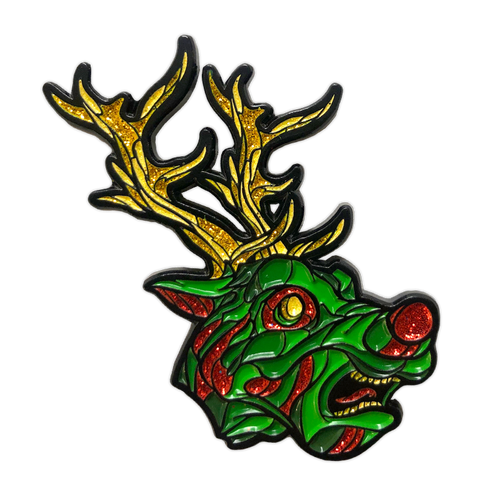 Wild Reindeer Glitter Enamel Pin by Seventh.Ink