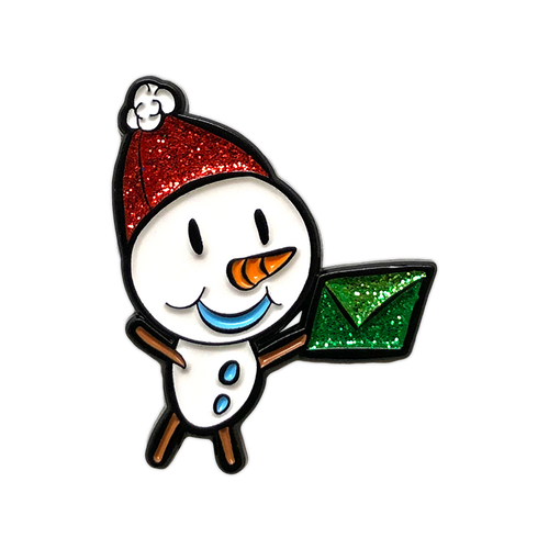 Snowman Glitter Enamel Pin by Seventh.Ink