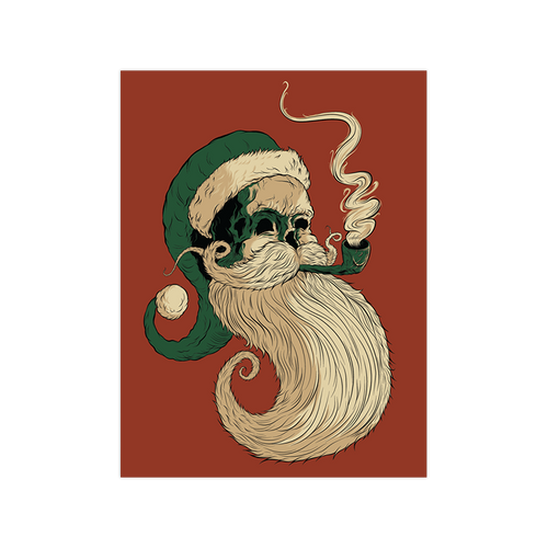 Old St. Nick Variant Red 9x12 Screen Print