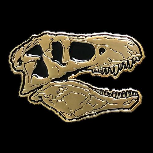 T-Rex Skull Gold Enamel Pin