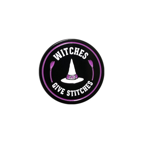 Witches Give Stitches Enamel Pin