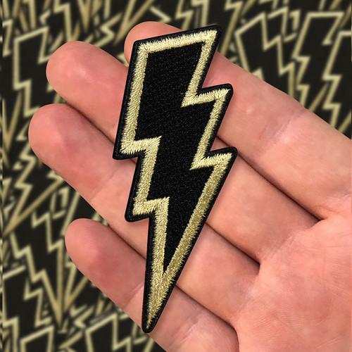 Black/Gold Reverse Lightning Bolt Patch by Seventh.Ink
