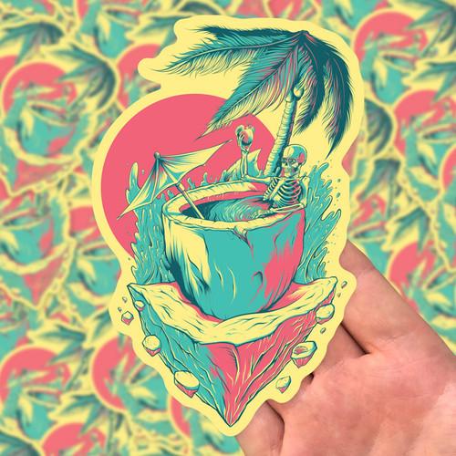 "Coco Cabana 6"" Die Cut Sticker by Seventh.Ink"