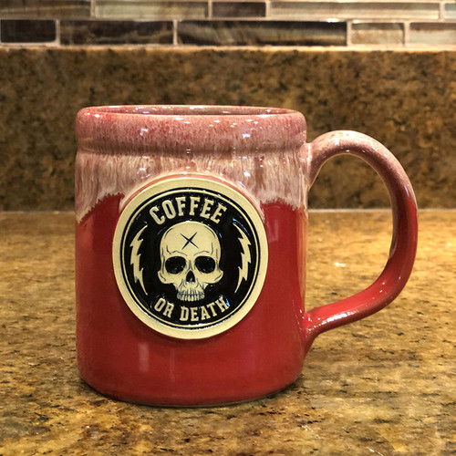 Coffee or Death Red Coffee Mug by Seventh.Ink