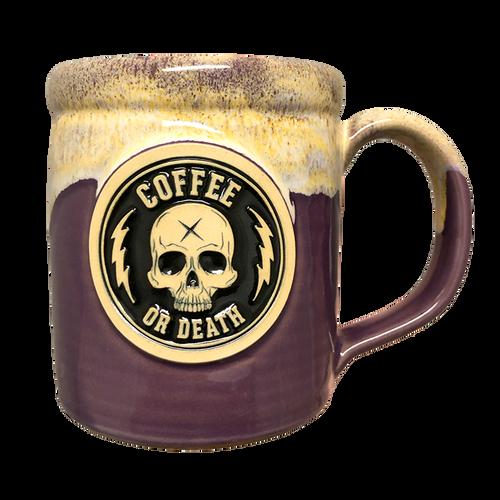 Coffee or Death Purple/Yellow Coffee Mug by Seventh.Ink