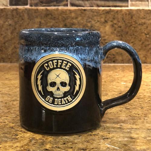 Coffee or Death Black/Blue Coffee Mug by Seventh.Ink
