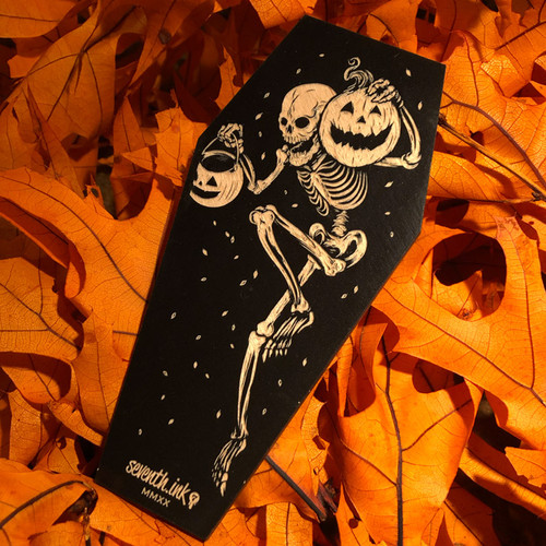 "Night of the Pumpkin 6"" Engraved Wooden Coffin Cutout"