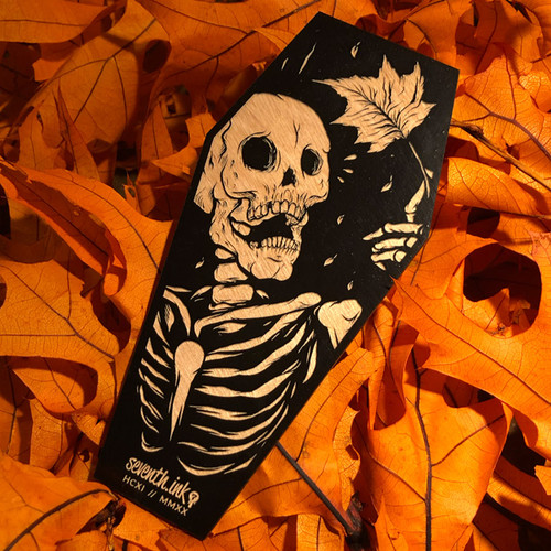 """Mapled 6"""" Engraved Wooden Coffin Cutout"""