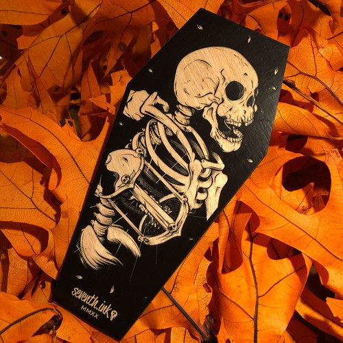 """The Keeper 6"""" Engraved Wooden Coffin Cutout"""