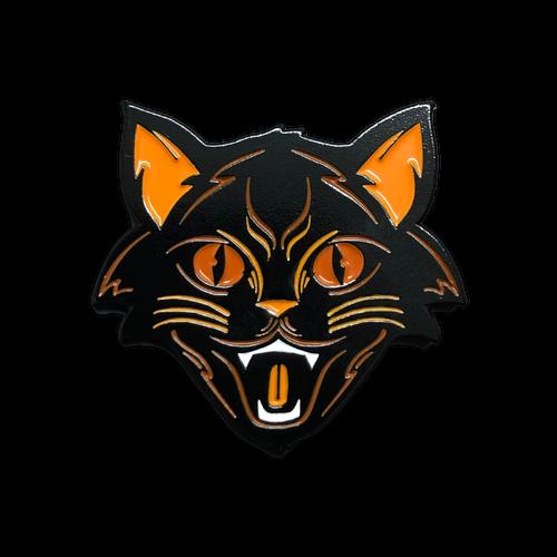 Orange Halloween Cat Enamel Pin by Seventh.Ink