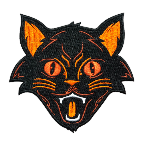 Orange Halloween Cat Embroidered Patch by Seventh.Ink