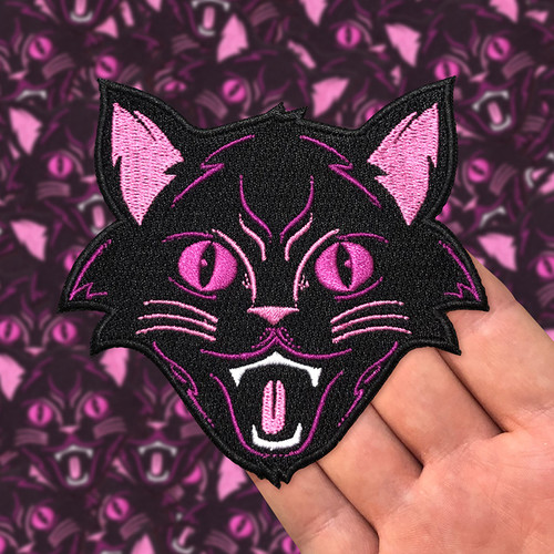Purple Halloween Cat Embroidered Patch by Seventh.Ink