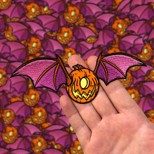 Jack O Lantern Bat Embroidered Patch by Seventh.Ink