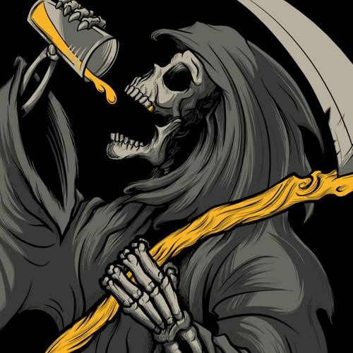 Drinkin' Reaper T-Shirt by Seventh.Ink