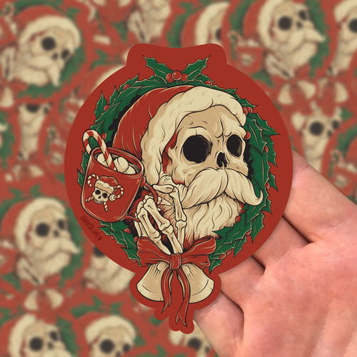 "Holly Jolly 5.5"" Die Cut Sticker by Seventh.Ink"