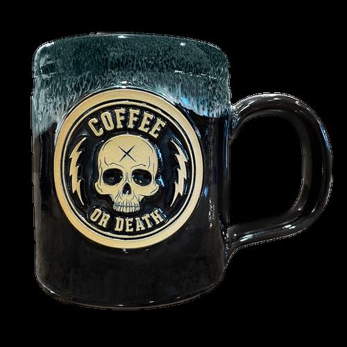 Coffee or Death Black/Hunter Green Coffee Mug by Seventh.Ink