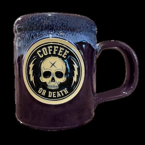 Coffee or Death Plum/Navy Coffee Mug by Seventh.Ink