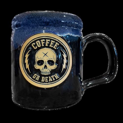Coffee or Death Black/Navy Coffee Mug by Seventh.Ink