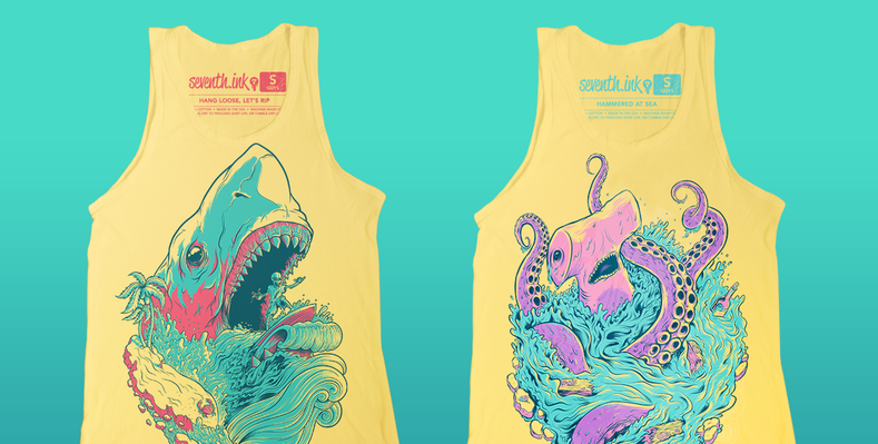 Final Printing of the Yellow Unisex Tanks