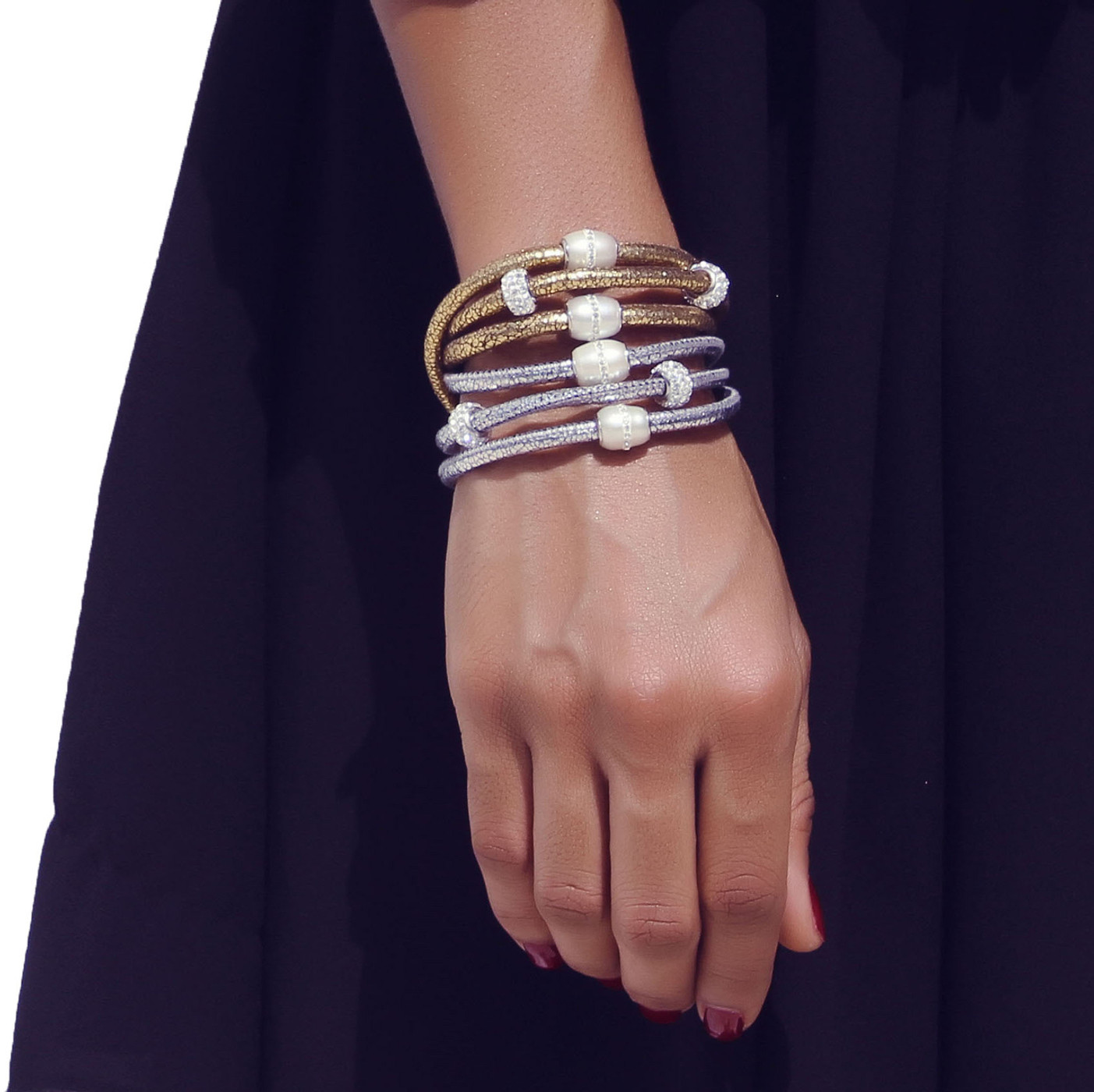 Sobe Metallic, This is the best and most unique piece and our classic.Buy This Now!  It is like nothing else Nappa Leather Triple Wrap Bracelet  2 Fresh Water Pearls with CZ  2 CZ Bedazzles  Sterling Silver Findings  Magnetic Clasp