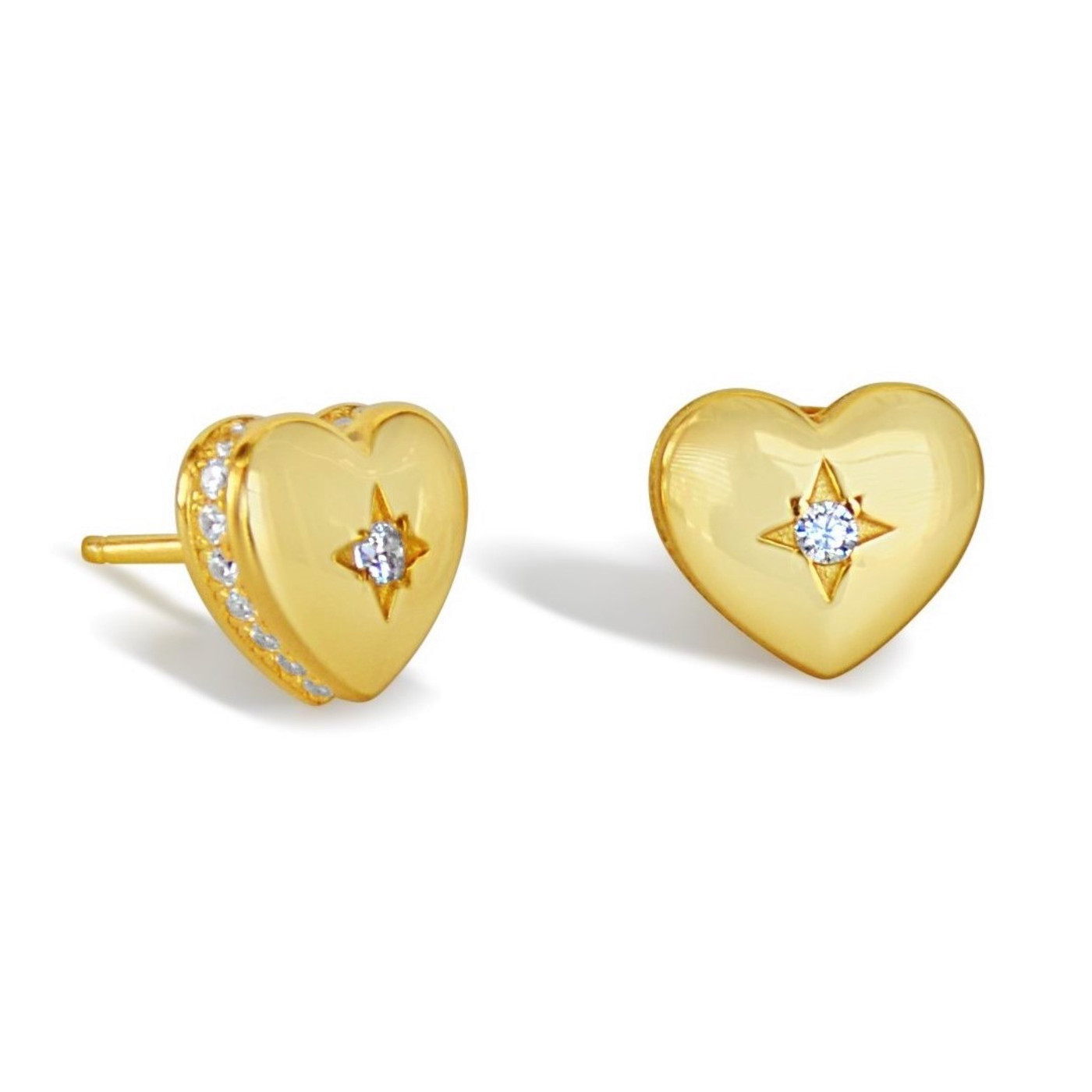 18K Gold over Sterling Silver Heart Starlight Studs Earrings