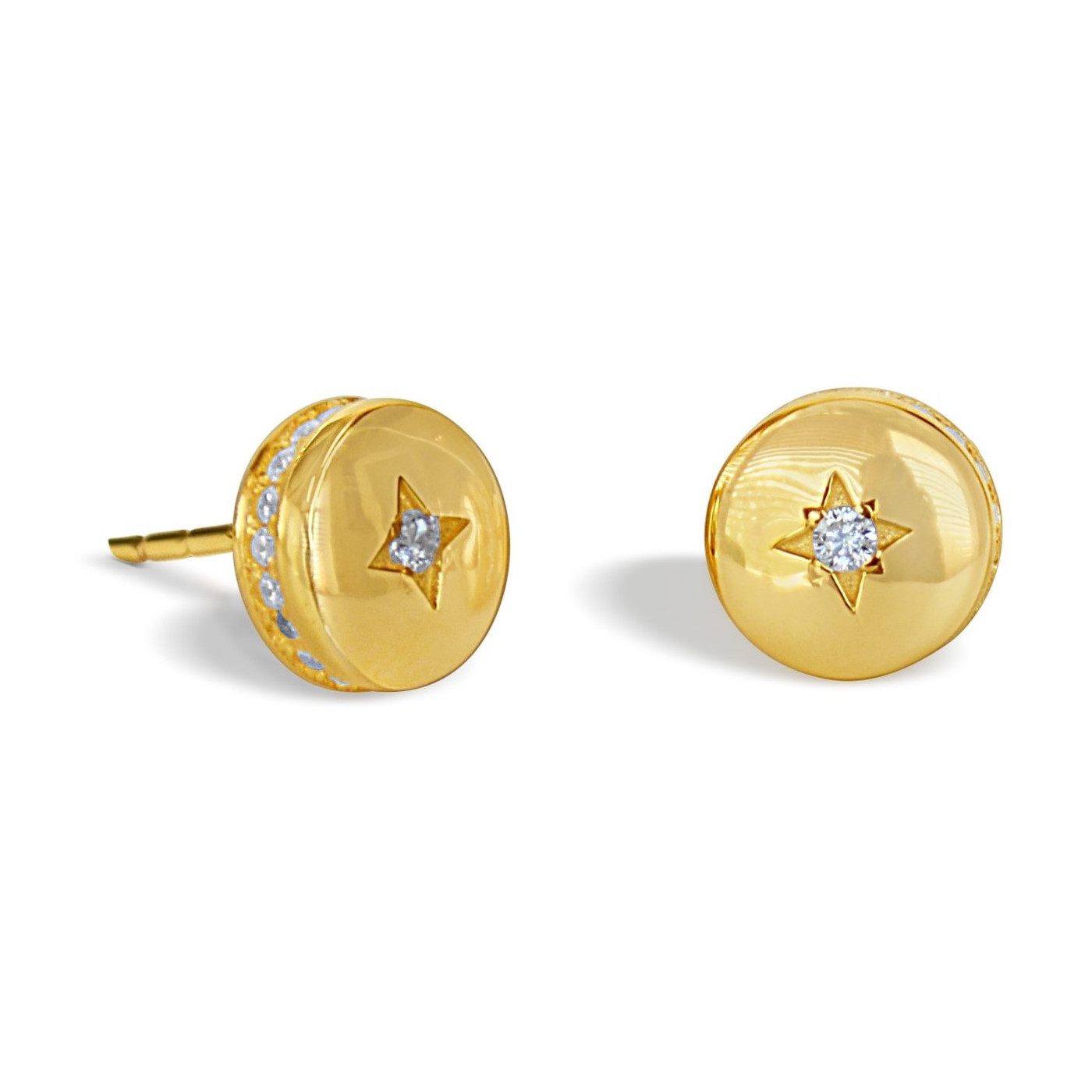 18K Gold over Sterling Silver Circle Starlight Studs Earrings