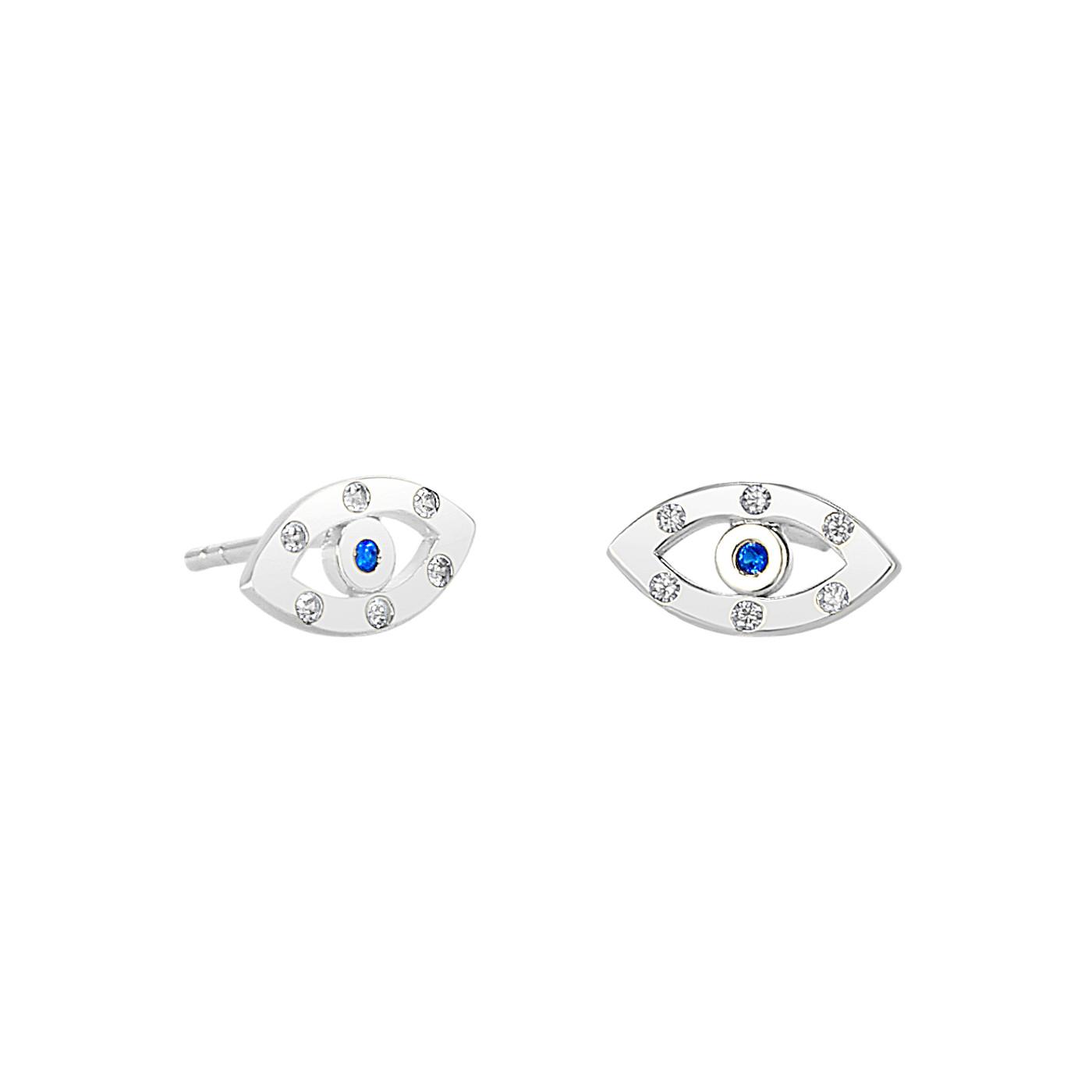 Sterling Silver Evil Eye Sapphire Studs