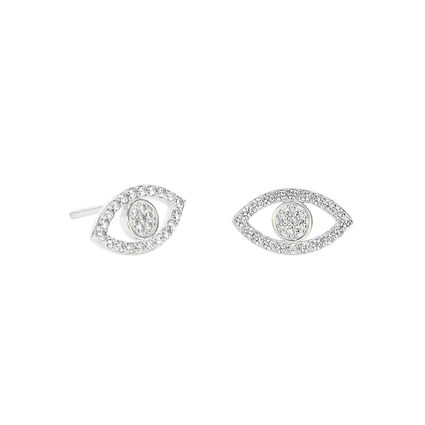 Sterling Silver Evil Eye Pave Studs