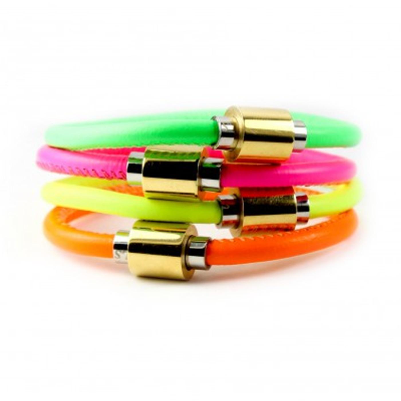 Neon Flash Leather Bracelets: Kids