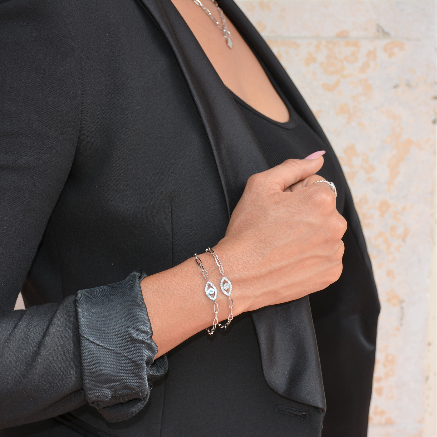 Mini Evil Eye Pave Chain Bracelet Silver