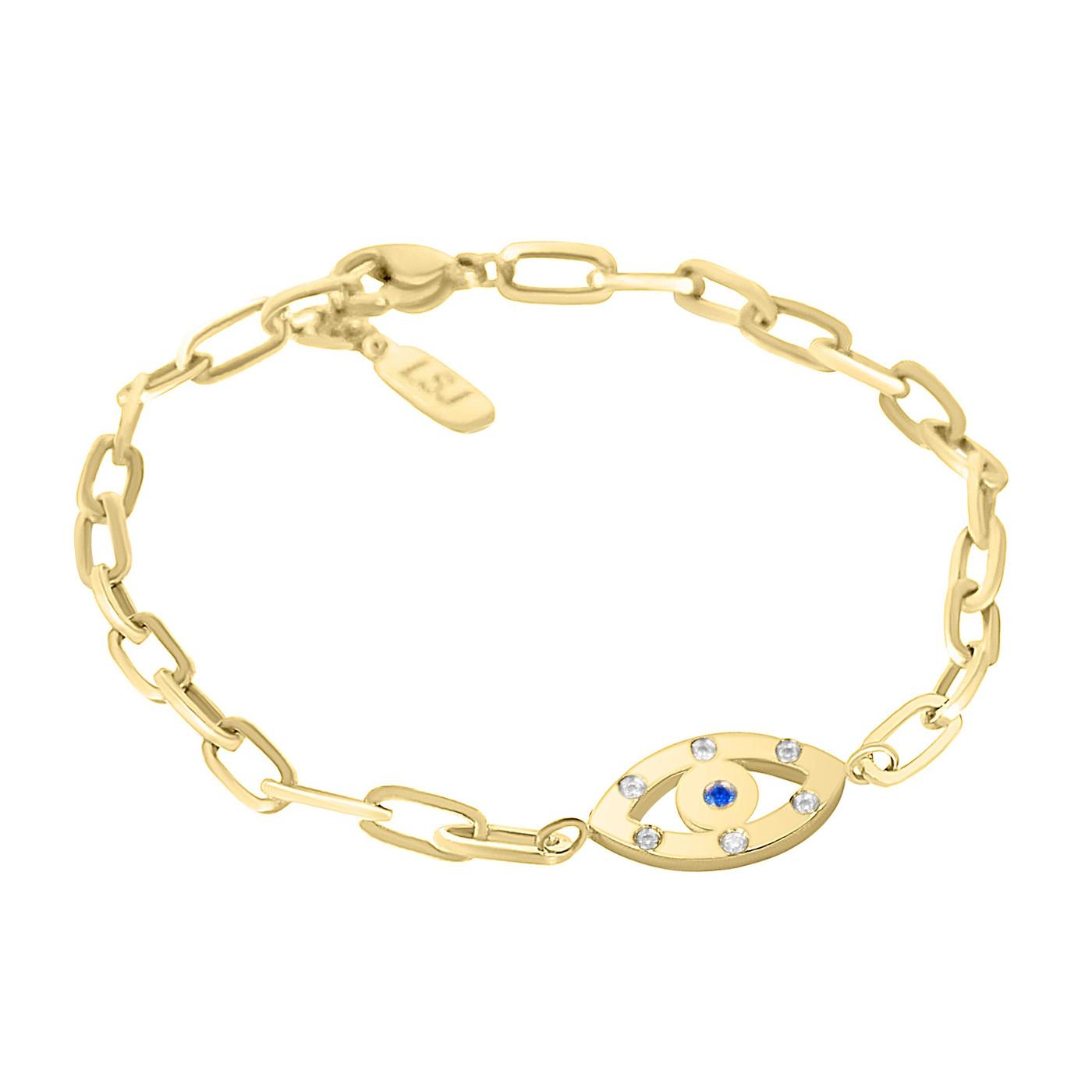 Mini Evil Eye Sapphire Chain Bracelet Gold