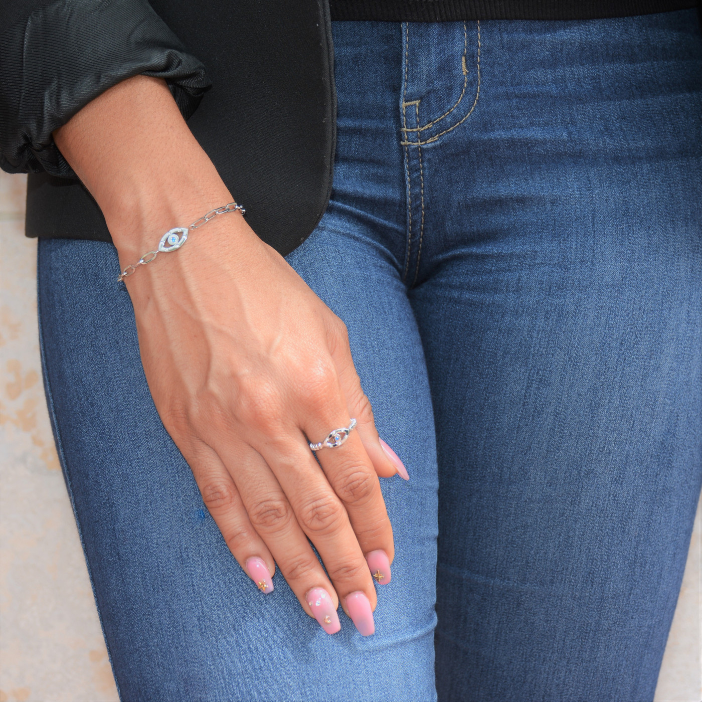Mini Evil Eye Sapphire Chain Bracelet Silver