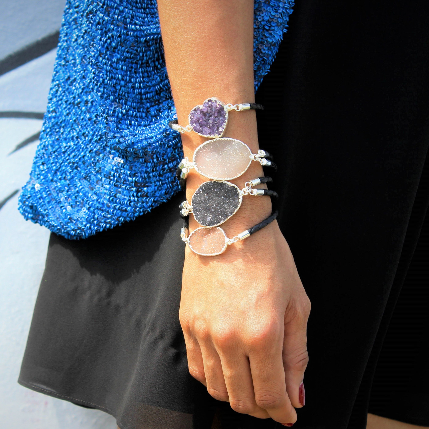 Sterling Silver Druzy Bracelet Sparkle